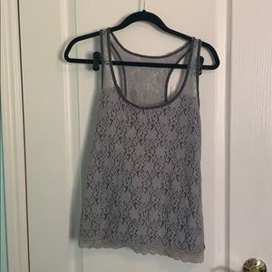 Abercrombie & Fitch Grey Lace Racerback Tank Top